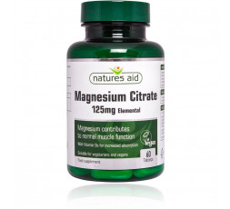 Natures Aid Magnesium Citrate 125mg with Vitamin B6 60 tabs