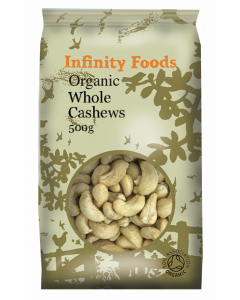 Infinity Foods Organic Whole Cashews 500g